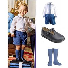 The family are dressed in various shades of blue, with Prince George in the same £59 Rachel Riley shirt and navy corduroys he wore for his first official photograph with Princess Charlotte last June. #RachelRileyGlam #shirtshorts set #Amaiakids #socks #StartriteShoes via ✨ @padgram ✨(http://dl.padgram.com)
