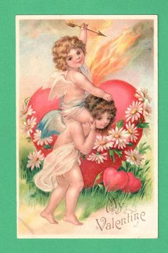 EARLY VINTAGE VALENTINE'S DAY POSTCARD PIGGYBACK CUPIDS ARROW FLAMING HEART #ValentinesDay