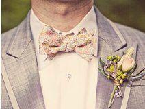 Männer Fliege Rosa, gold / grau / blau paisley