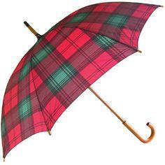 Tartan Walking Length Umbrellas - Maroon/Navy (as Lindsay)
