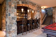 Home Bar Design Ideas. The great designs of portable home bars provide flexibility to move your bar home to any room in the summer. Basement Bar Designs, Home Bar Designs, Home Design, Design Ideas, Basement Bars, Basement Ideas, Rustic Basement, Basement Decorating, Basement Shelving