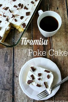 Tiramisu Poke Cake An easy twist on a classic favorite! #pokecake #tiramisu #coffee #dessert