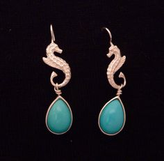 Silver Earrings with Natural Turquoise by JewelleryWorkshop