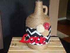 Items similar to Unique Love Wine Jug Vase on Etsy Wine Bottle Art, Wine Art, Wine Bottles, Wine Jug Crafts, Christmas Presents, Bottle Decorations, Etsy Shop, Crafty, Unique Jewelry