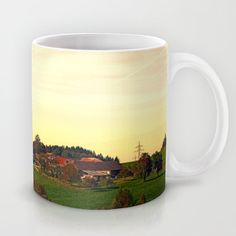 Peaceful autumn scenery photographic custom design mug Autumn Scenery, Ceramic Mugs, Landscape Photography, Coffee Mugs, Custom Design, Peace, Ceramics, Tableware, Ceramica