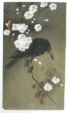 Ohara Koson / Crow on Cherry Branch