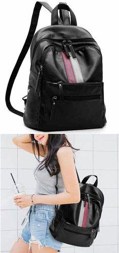db7cecbf0 Unique Girl's Red Green Stripe Large Capacity School Backpack PU Black  Travel Backpack #backpack #Bag #school #college #student #rucksack # ...
