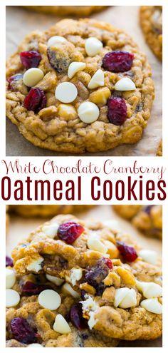 Cranberry Dessert, White Chocolate Cranberry Cookies, Chocolate Chip Oatmeal, White Chocolate Chips, Chocolate Chip Cookies, Cranberry Recipes, Oatmeal Craisin Cookies, Oat Cookies, Healthy Cookies