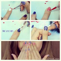 My 4th of July Nails: dots & stripes