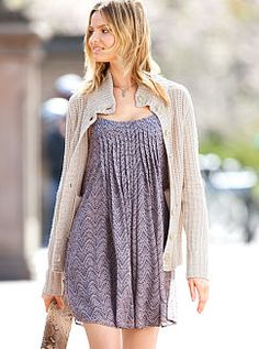 Love this look with boots for fall. Victoria secret dress and cardi