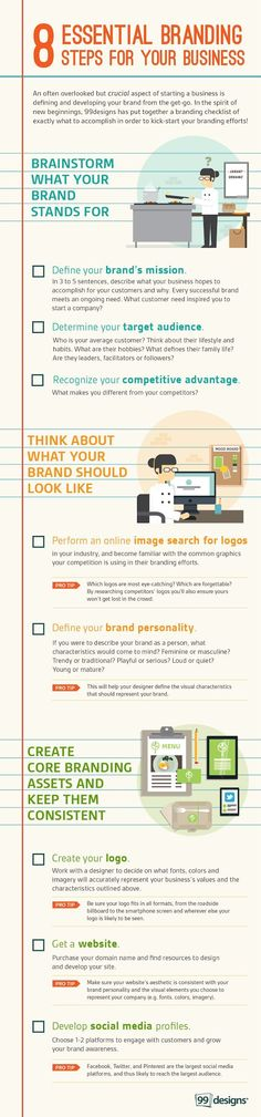8 Essential Branding Steps for Your Business (Infographic) – Looking to create your brand, but don't know where to start? Use our small business branding checklist for 8 essential tips, and create a brand that lasts!   |   99 Designs