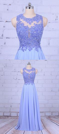 Blue chiffon open back long sweet 16 prom dress, blue beaded evening dresses #prom #dress #promdress #promdresses