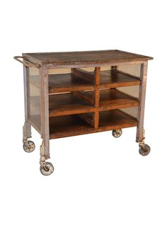 Mid-20th-Century English industrial cart with worn wooden shelves and plexiglass sides on an iron frame.     TheHighBoy    #highboystyle #antiquesmakeitbetter #antiques #vintage
