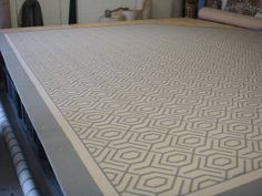 This is a #wool_rug with a #custom_border fabricated at The Carpet Workroom in Needham, MA. Visit us at www.thecarpetworkroom.com for more info and ideas! #geometric_rug