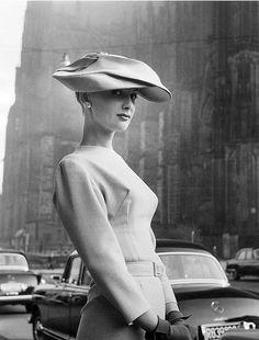 Gisela Ebel in hat by Legroux Soeurs, 1956