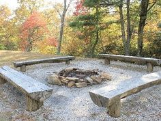 Bear Den community fire pit just down the hill from Big Bear Cabin - Spruce Pine cabin rental Fire Pit Seating, Fire Pit Area, Fire Pit Bench, Seating Areas, Diy Fire Pit, Fire Pit Backyard, Backyard Seating, Outdoor Fire Pits, Camping Fire Pit