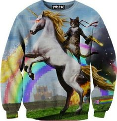 ☮♡ Unicorn Cat Pixel Sweater ✞☆ from 1991 INC. Saved to clothes. Crazy Cat Lady, Crazy Cats, Baz Luhrmann, Ninja Cats, Cat Reading, Unicorn Cat, Cat Sweaters, Crewneck Sweaters, Novelty Shirts