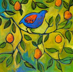 36x36 Partridge in a Pear Tree - Huge Contemporary Original Acrylic on a Extra Large Canvas Commission Patty Baker. $525.00, via Etsy.