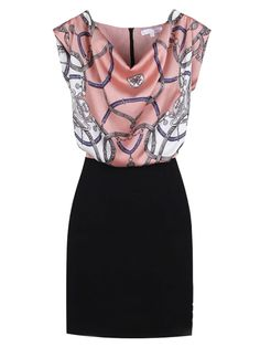 Super Cute! Love Pink and Black! Contrast Color Dress With Pink Top and Black Skirt #Pink_and_Black #Fashion