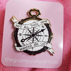 Compass Hard Enamel Pin Not all those who wander are lost | Etsy