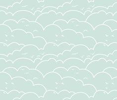 flying high - light mint_request fabric by ravynka on Spoonflower - custom fabric