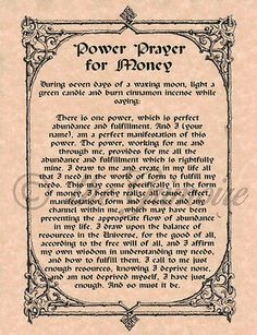 Power Prayer for Money, Book of Shadows Pages, BOS, Rare Spell Page, Witchcraft