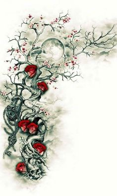 Rose and skulls