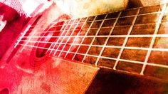 Colorful Guitar Print, Music Photograph, Stringed Instrument Picture, Pink, orange, green, blue, abstract, watercolor, Classical, musician