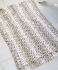 beginner crochest projects | Crochet Natural Stripes Rug Crochet Pattern | Red Heart