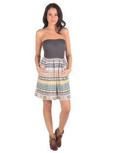 Aztec Print Color Block Tube Dress from Vintage Havana