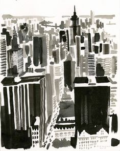 "Studio Christoph Niemann on Instagram: ""New York City Ink on paper"""