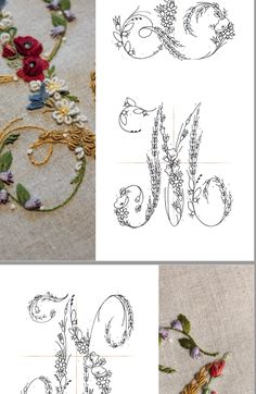 hand embroidery stitches step by step Embroidery Alphabet, Embroidery Monogram, Hand Embroidery Stitches, Silk Ribbon Embroidery, Beaded Embroidery, Cross Stitch Embroidery, Machine Embroidery Designs, How To Embroider Letters, Contemporary Embroidery