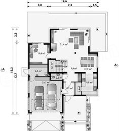 Projekt domu Piryt - murowana – beton komórkowy 164 m2 - koszt budowy - EXTRADOM Architect House, Villa, Floor Plans, House Design, How To Plan, Architecture, Interior, House Construction Plan, Building Homes