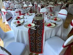 Wedding Decorations African print table runners for parties and weddings. Perfect for African inspired wedding decor theme with red, black, orange or white. African Wedding Theme, African Theme, African Weddings, African Attire, Traditional Wedding Decor, African Traditional Wedding, Bridal Musings, Rustic Wedding Decorations, Table Decorations