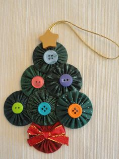 Yoyo Christmas tree ornament, fabric decoration, buttons red ribbon, sewing gift, fabric yoyos, handmade Christmas