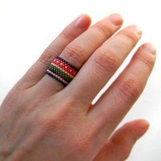 Beaded ring Ethnic jewelry Beaded jewelry by HappyBeadwork on Etsy