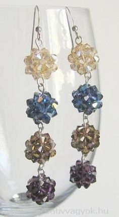 Bicone ball earrings. I like the idea of this, but using 3 clip-on earrings linked together instead.