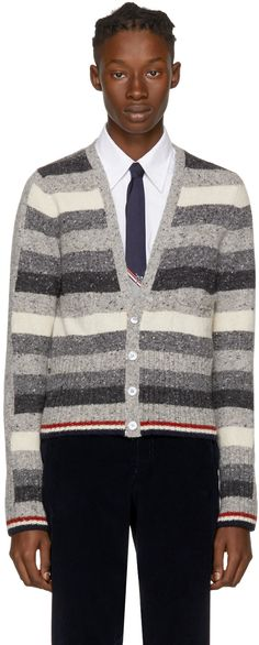 Thom Browne - Grey Mohair Multistripe V-Neck Cardigan