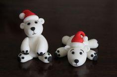 Christmas Cake Topper. Polar Bears made with homemade marshmallow fondant