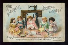5 Little Girls Sew Clothes for Doll Victorian Trade Card Singer Sewing Machines
