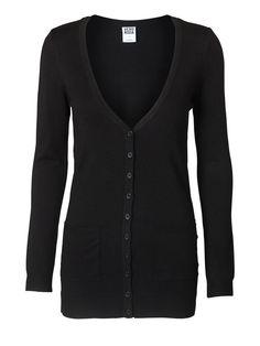 GLORY NEW LS LONG V-NECK Tämä neulepaita (tai vastaava) pitkänä ja mustana tai tummanharmaana 29,95€