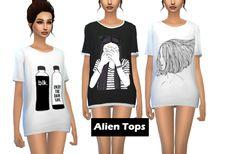 Alien tops at NicoleDu via Sims 4 Updates
