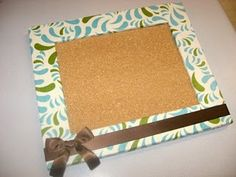 Turn a picture frame into a cork board. Makes a great Christmas gift for friends!