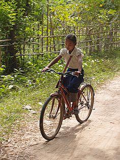 cycling home from school, don daeng, Laos