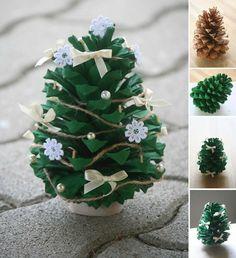 deko zu weihnachten tannenzapfen lackieren gruen schmuck schleifen