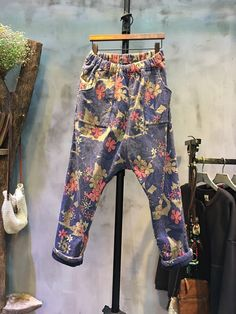 Retro Style Flower Print Harem Pants Napping Baggy Pants For Woman  #pants #harem #flowers #napping #baggy #trousers #winter #artistic