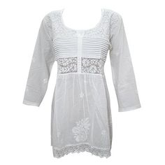 Mogul Interior Womens Indian Tunic Top White Cotton Hand Embroidered... ($36) ❤ liked on Polyvore featuring tops, indian cotton tops, white gypsy top, white cotton shirt, white tops and indian tops
