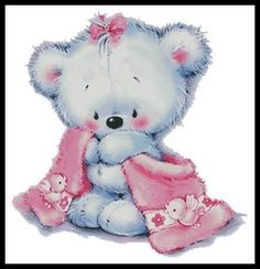Teddy Girl - Baby cross stitch pattern designed by Tereena Clarke. Teddy Girl, Teddy Boys, Cute Teddy Bears, Teddy Bear Cartoon, Girl Cartoon, Teddy Bear Pictures, Bear Pics, Tatty Teddy, Chart Design