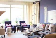 Home decorating, living room, design ideas, violet purple lavender