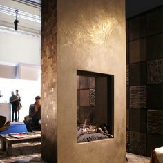 Make your home look amazing with concrete! - mix gold powder in with concrete to create a gold fireplace! Home Fireplace, Fireplace Design, Beautiful Wall, Beautiful Homes, Cement Design, Home Look, Diy Bedroom Decor, Home Decor, Interior Design Living Room